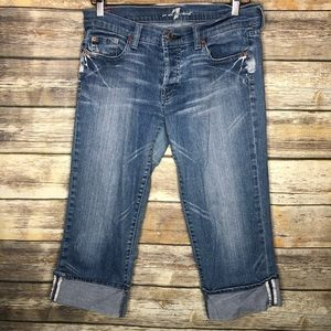 7famk crop boy cut jean 30 distressed boyfriend